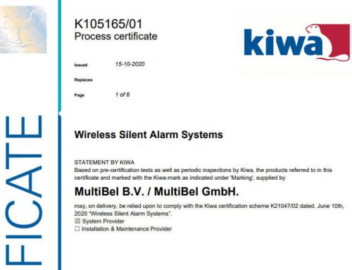 K21047 Wireless Silent Alarm System (WSAS) gecertificeerd